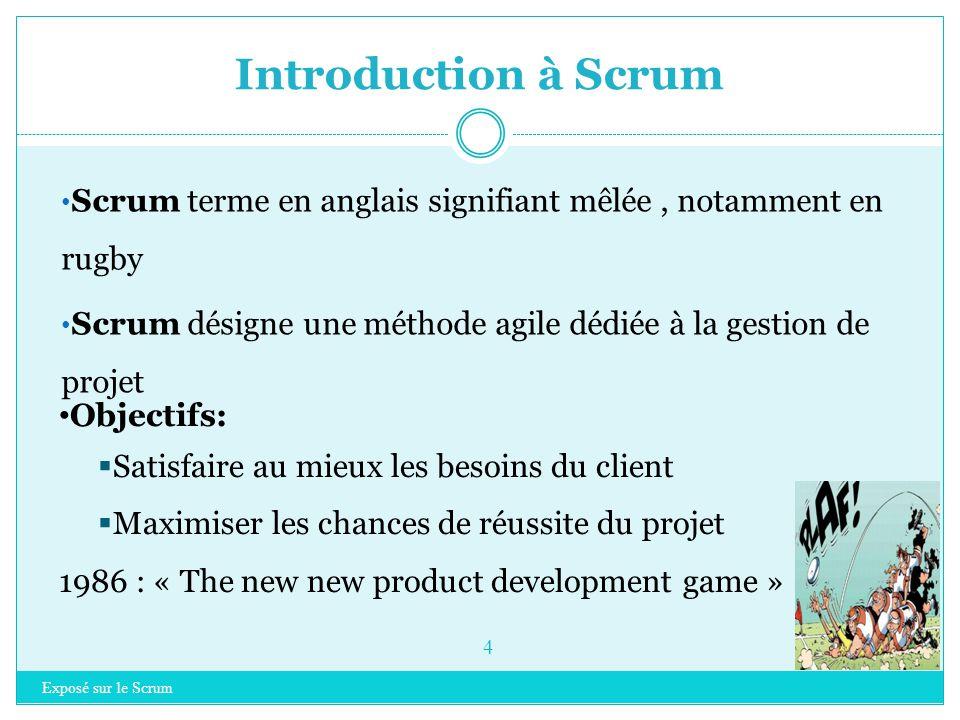 Introduction à Scrum Exposé sur le Scrum 4 Scrum terme en anglais signifiant mêlée, notamment en rugby Scrum désigne une méthode agile dédiée à la gestion de projet Objectifs:  Satisfaire au mieux les besoins du client  Maximiser les chances de réussite du projet 1986 : « The new new product development game »