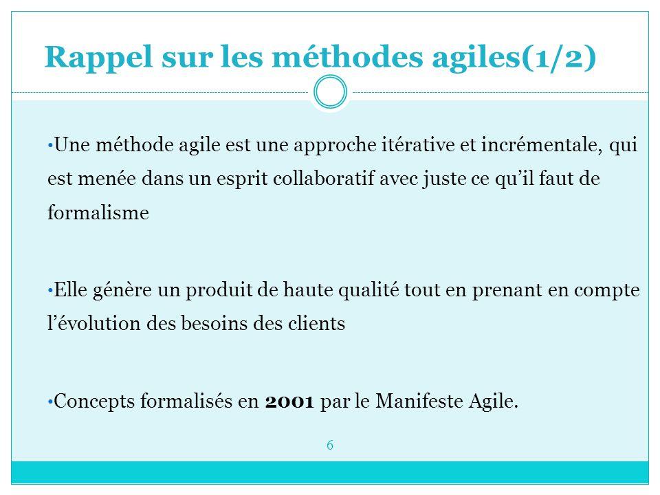 Rappel sur les méthodes agiles(1/2) Une méthode agile est une approche itérative et incrémentale, qui est menée dans un esprit collaboratif avec juste ce qu'il faut de formalisme Elle génère un produit de haute qualité tout en prenant en compte l'évolution des besoins des clients Concepts formalisés en 2001 par le Manifeste Agile.