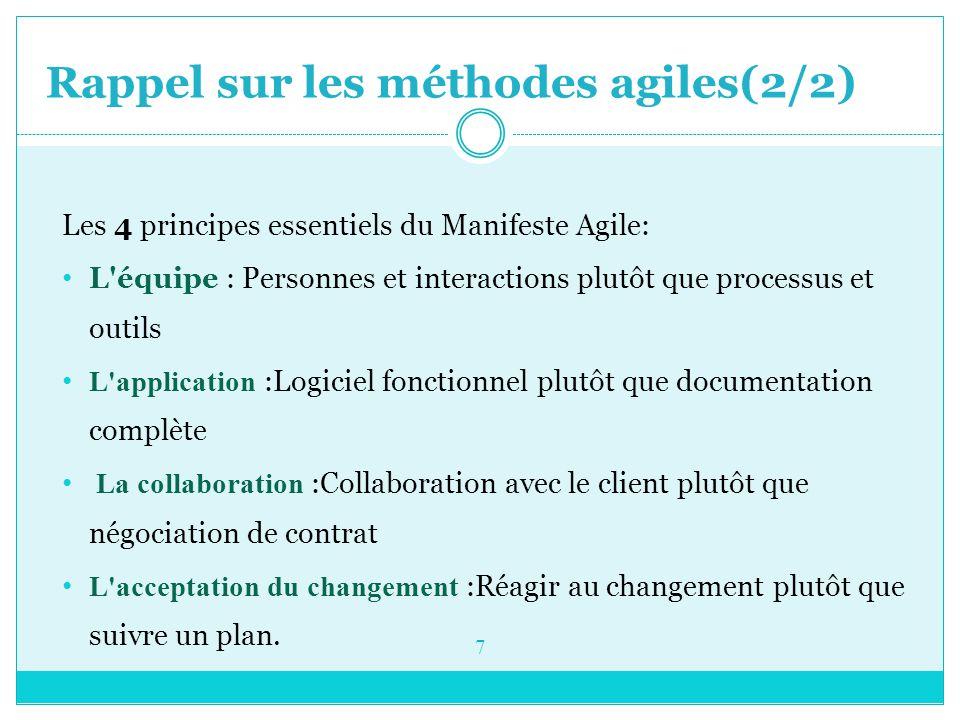 Rappel sur les méthodes agiles(1/2) Une méthode agile est une approche itérative et incrémentale, qui est menée dans un esprit collaboratif avec juste