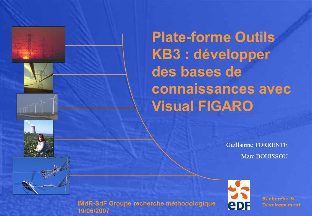 Recherche & Développement Guillaume TORRENTE Marc BOUISSOU Plate-forme Outils KB3 : développer des bases de connaissances avec Visual FIGARO IMdR-SdF Groupe recherche méthodologique 19/06/2007