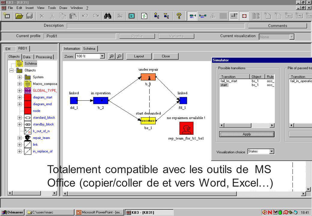 Accès aux outils de la Plate-forme Outils KB3 KB3 est disponible en version de démonstration : Seule limitation : le nombre d'objets dans une étude est limité à 80 On peut le télécharger (en Français et en Anglais) sur le site : http://research.edf.com/research-and-the-scientific-community/softwares/softwares-44329.html La version de démonstration est fournie avec des bases de connaissances : Diagfia, Petri, BDMP de nombreux exemples de modèles des manuels utilisateurs un ensemble d'articles de congrès Visual FIGARO est en open-source Il est disponible sur Sourceforge : https://sourceforge.net/projects/visualfigaro/