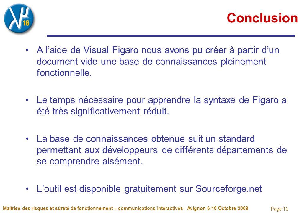 Page 19 Conclusion A l'aide de Visual Figaro nous avons pu créer à partir d'un document vide une base de connaissances pleinement fonctionnelle. Le te