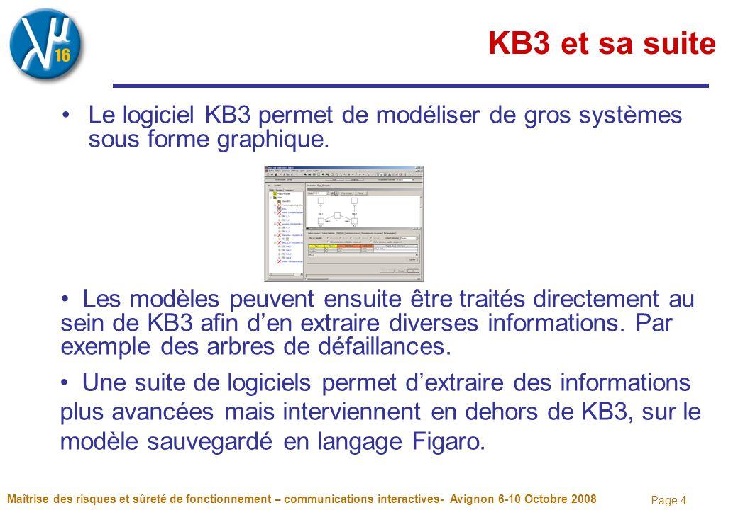 Page 4 KB3 et sa suite Le logiciel KB3 permet de modéliser de gros systèmes sous forme graphique. Maîtrise des risques et sûreté de fonctionnement – c