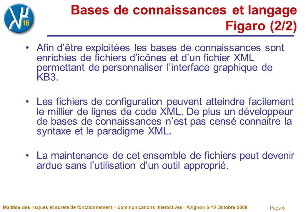 Page 6 Bases de connaissances et langage Figaro (2/2) Afin d'être exploitées les bases de connaissances sont enrichies de fichiers d'icônes et d'un fichier XML permettant de personnaliser l'interface graphique de KB3.