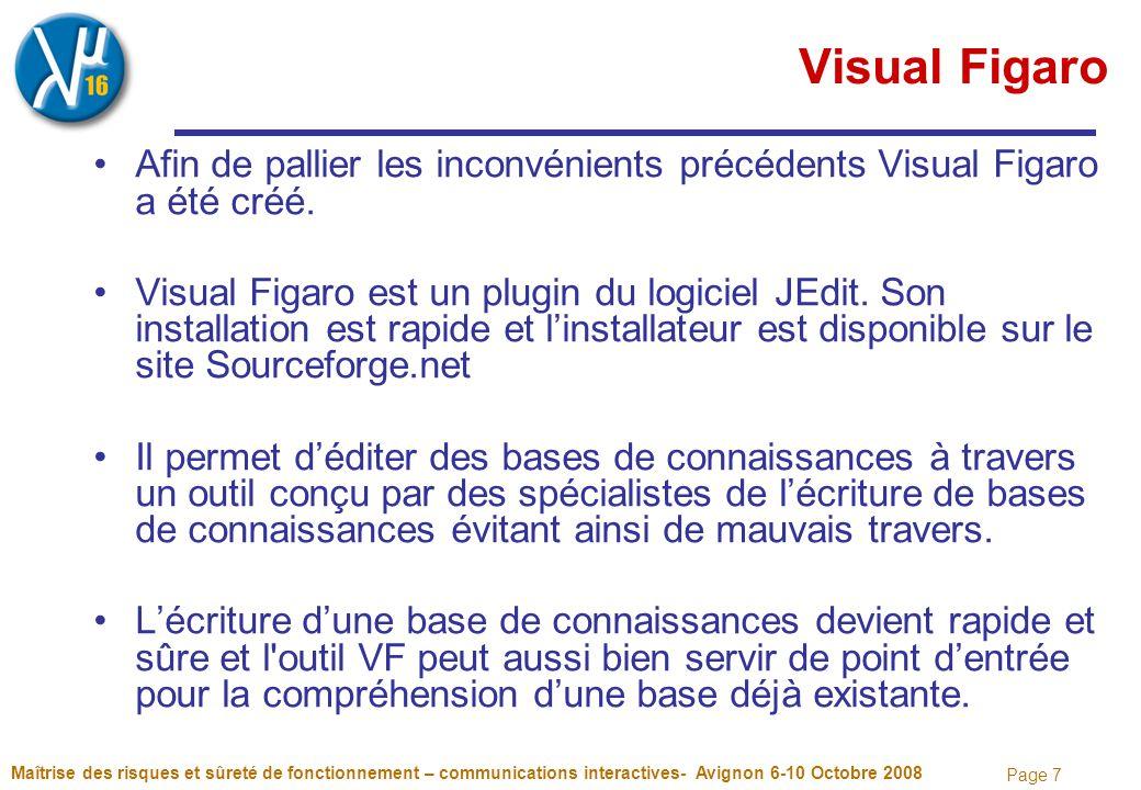 Page 7 Maîtrise des risques et sûreté de fonctionnement – communications interactives- Avignon 6-10 Octobre 2008 Visual Figaro Afin de pallier les inconvénients précédents Visual Figaro a été créé.
