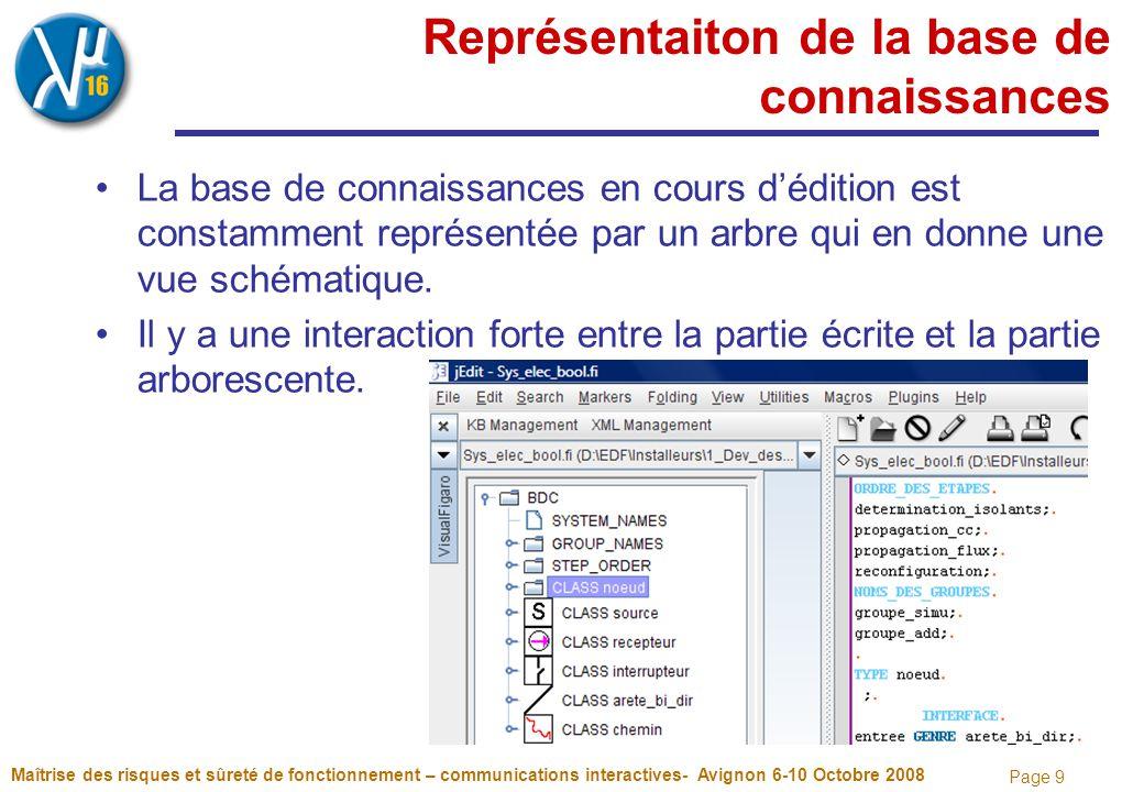 Page 9 Représentaiton de la base de connaissances La base de connaissances en cours d'édition est constamment représentée par un arbre qui en donne une vue schématique.