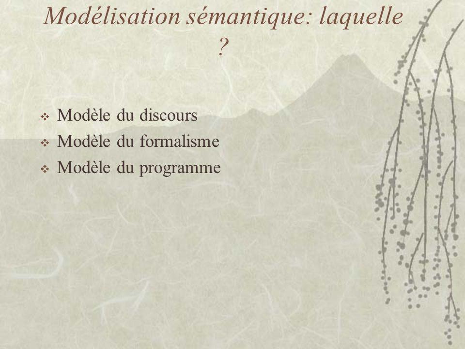 Modélisation sémantique: laquelle .