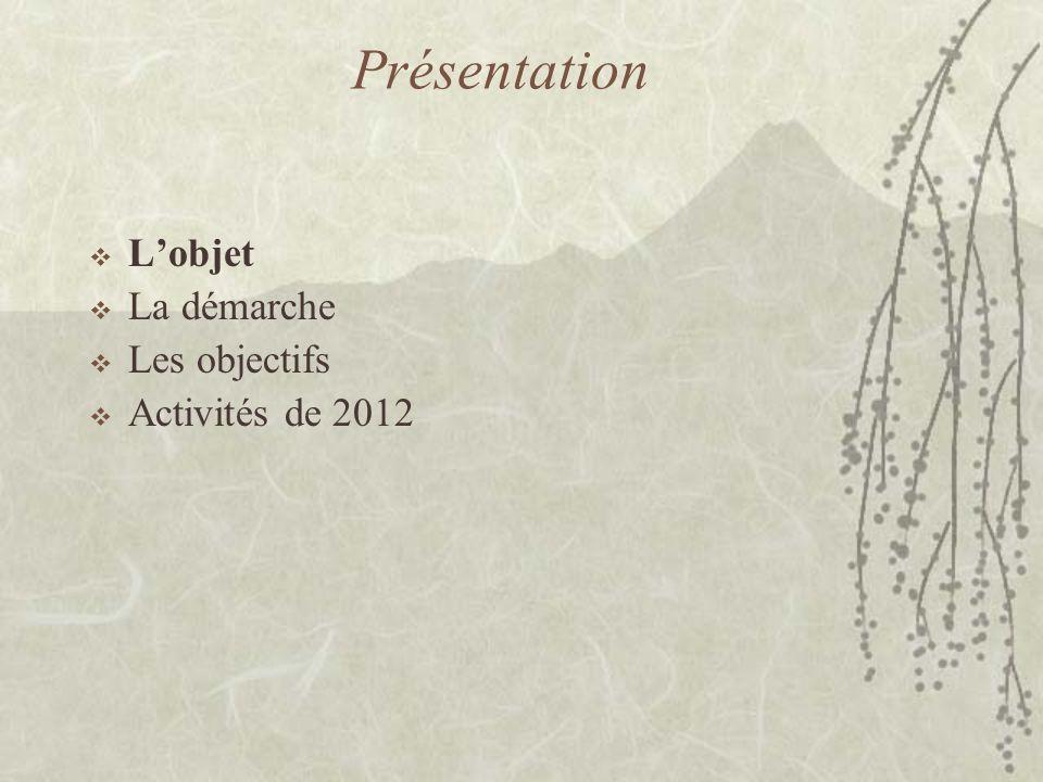 Présentation  L'objet  La démarche  Les objectifs  Activités de 2012