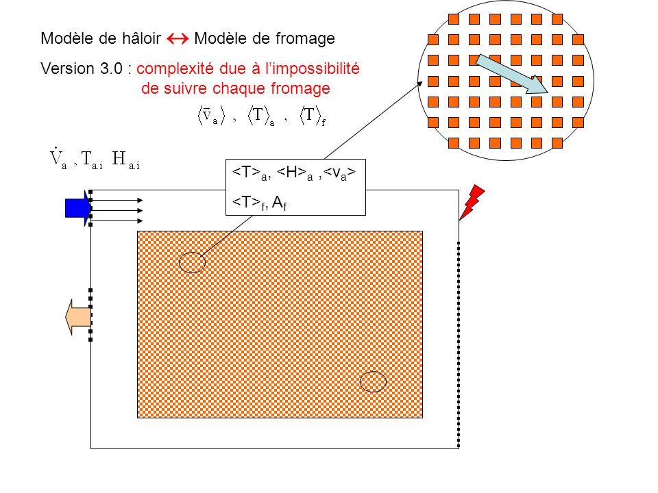Modèle de hâloir  Modèle de fromage Version 3.0 : complexité due à l'impossibilité de suivre chaque fromage a, a, f, A f