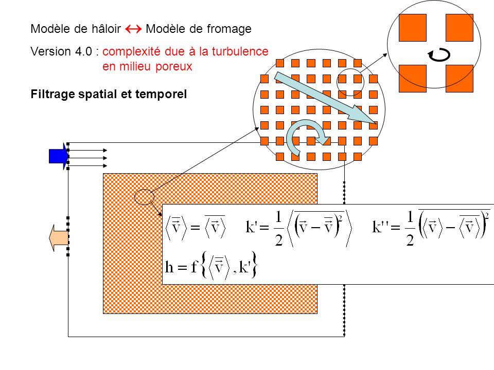 Modèle de hâloir  Modèle de fromage Version 4.0 : complexité due à la turbulence en milieu poreux Filtrage spatial et temporel