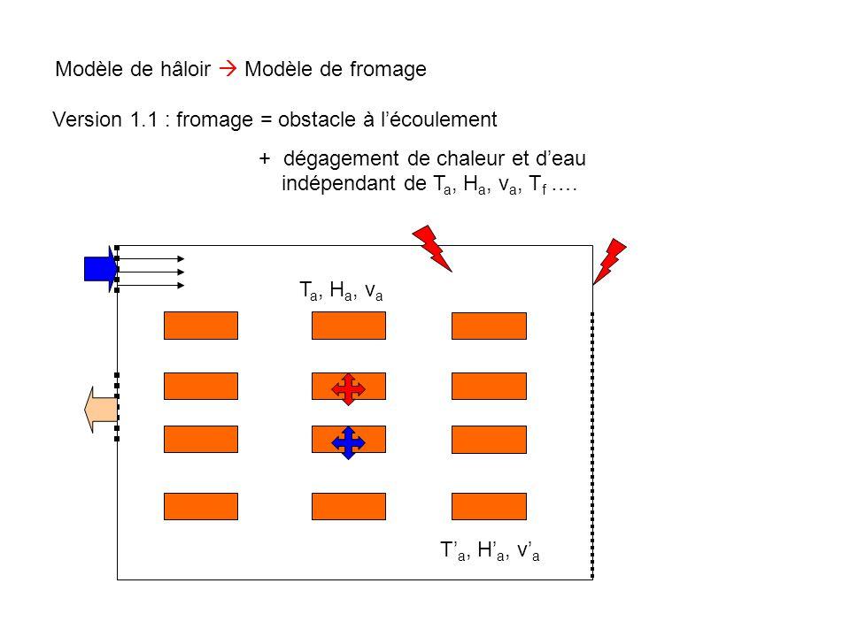 Modèle de hâloir  Modèle de fromage T a, H a, v a T' a, H' a, v' a Version 2.0 : fromage = obstacle à l'écoulement + dégagement de chaleur / conduction / échange avec l'air + échange d'eau avec l'air + cinétique d'affinage T f, A f T' f, A' f