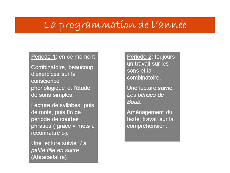 La programmation de l'année Période 1: en ce moment Combinatoire, beaucoup d'exercices sur la conscience phonologique et l'étude de sons simples. Lect