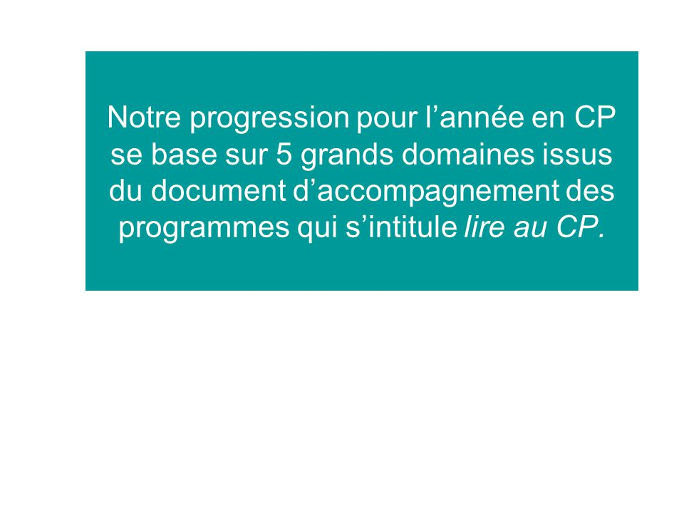 Notre progression pour l'année en CP se base sur 5 grands domaines issus du document d'accompagnement des programmes qui s'intitule lire au CP.
