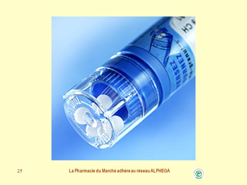 La Pharmacie du Marché adhère au réseau ALPHEGA 24 LES GRANULES et les DOIGTS Il est préférable par mesure d'hygiène de ne pas toucher les médicaments homéopathiques.