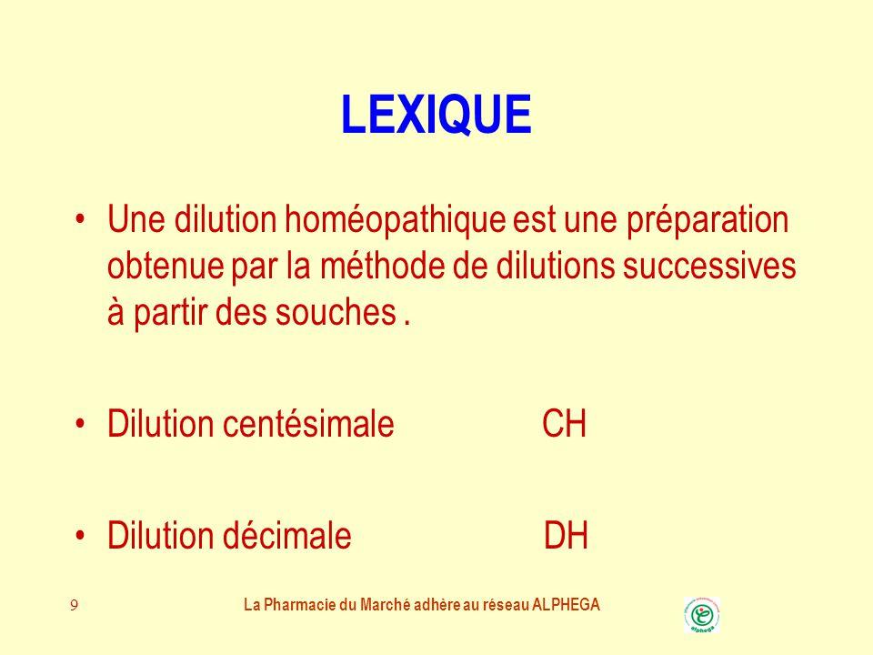 9 LEXIQUE Une dilution homéopathique est une préparation obtenue par la méthode de dilutions successives à partir des souches.