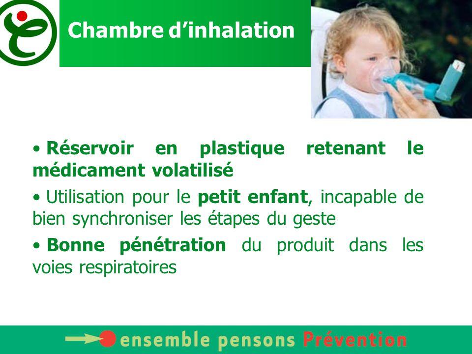 Les inhalateurs de poudre Facile à utiliser (pas de coordination main-bouche) Mais le patient doit posséder une capacité d'inspiration suffisante