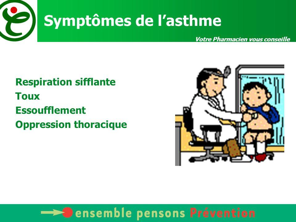 Votre Pharmacien vous conseille Symptômes de l'asthme Respiration sifflante Toux Essoufflement Oppression thoracique