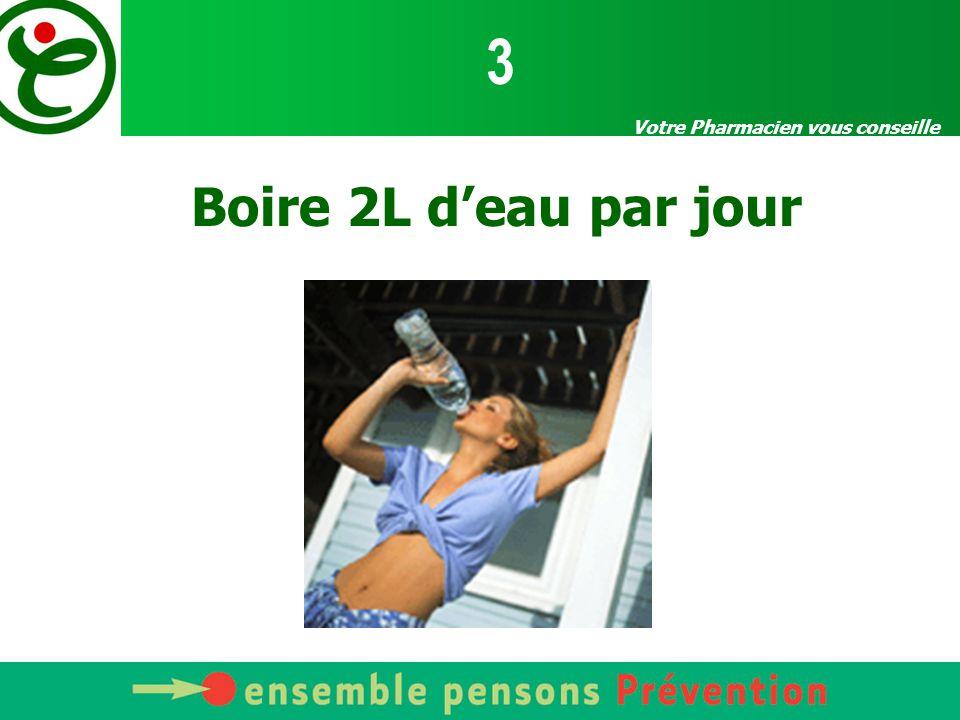 Votre Pharmacien vous conseille Boire 2L d'eau par jour 3