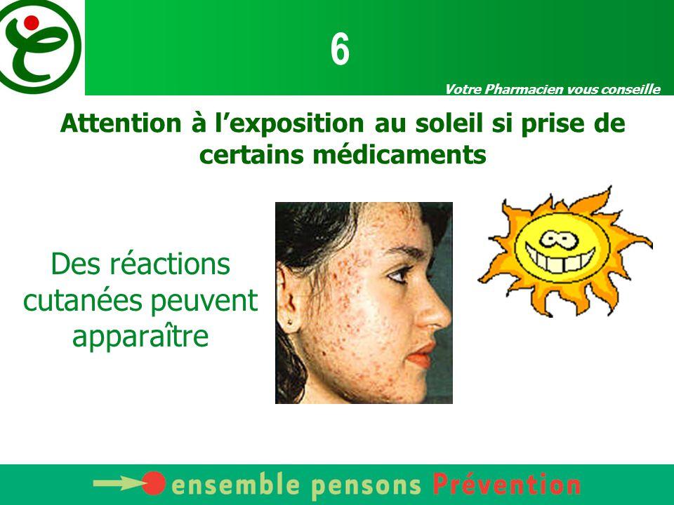 Votre Pharmacien vous conseille Attention à l'exposition au soleil si prise de certains médicaments Des réactions cutanées peuvent apparaître 6