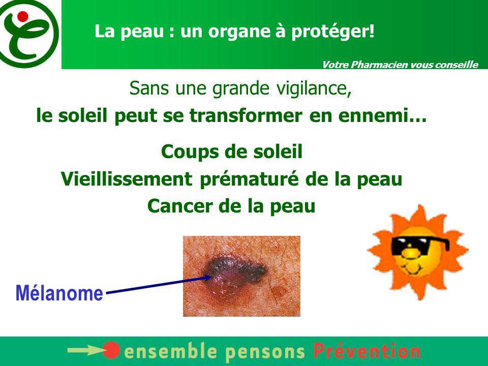 Votre Pharmacien vous conseille La peau : un organe à protéger! Sans une grande vigilance, le soleil peut se transformer en ennemi… Coups de soleil Vi