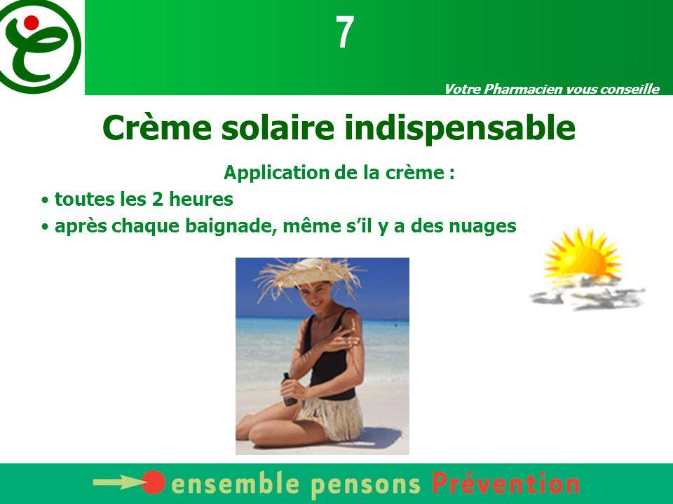 Votre Pharmacien vous conseille Crème solaire indispensable Application de la crème : toutes les 2 heures après chaque baignade, même s'il y a des nua