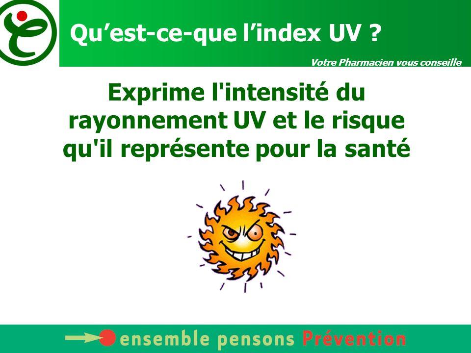 Votre Pharmacien vous conseille Qu'est-ce-que l'index UV ? Exprime l'intensité du rayonnement UV et le risque qu'il représente pour la santé