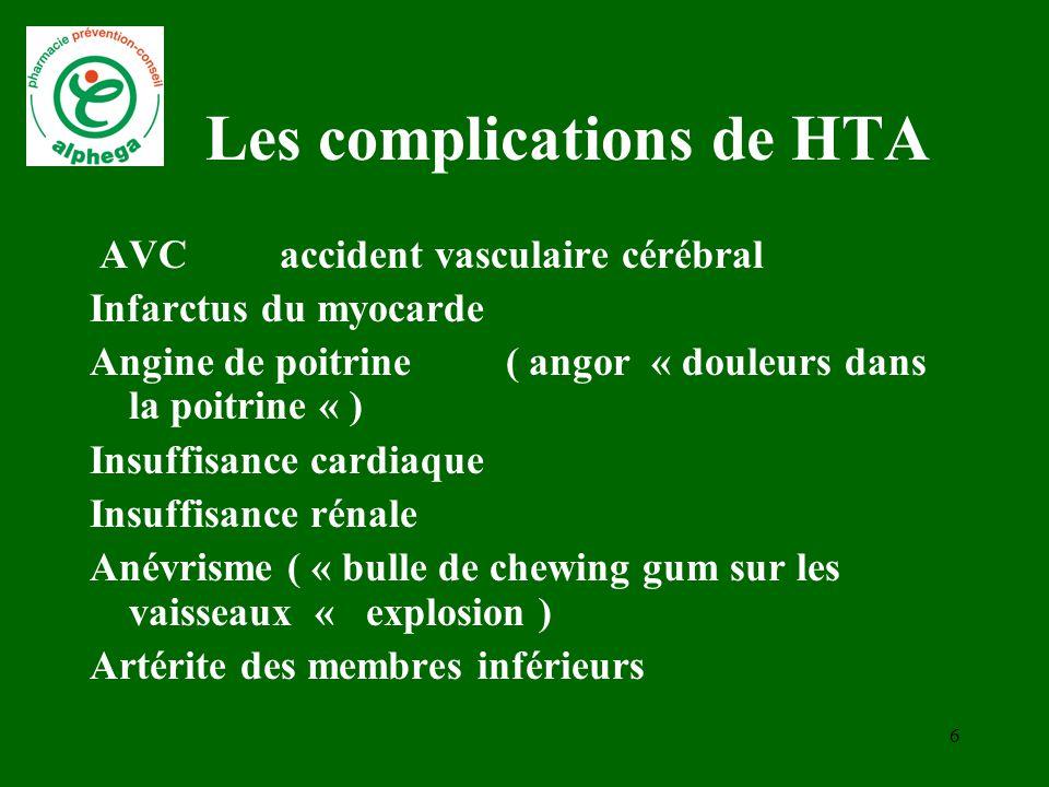 5 Un Risque à connaître Trop de tension dans le jargon médical HTA altère le système artériel La prise en charge de l'HTA permet de prévenir les compl