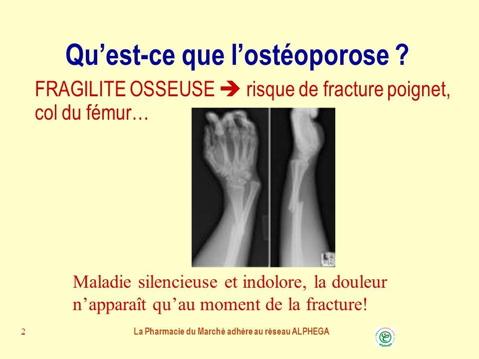 La Pharmacie du Marché adhère au réseau ALPHEGA 1 L'ostéoporose Vous informe sur