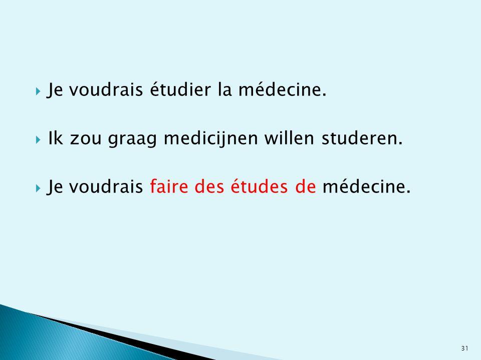  Je voudrais étudier la médecine.  Ik zou graag medicijnen willen studeren.  Je voudrais faire des études de médecine. 31