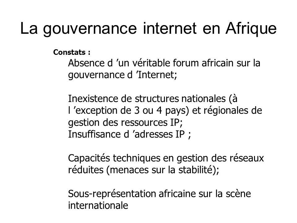 Constats : Absence d 'un véritable forum africain sur la gouvernance d 'Internet; Inexistence de structures nationales (à l 'exception de 3 ou 4 pays) et régionales de gestion des ressources IP; Insuffisance d 'adresses IP ; Capacités techniques en gestion des réseaux réduites (menaces sur la stabilité); Sous-représentation africaine sur la scène internationale La gouvernance internet en Afrique
