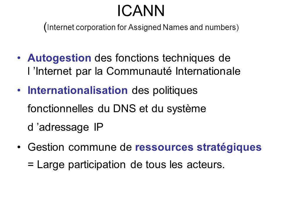ICANN ( Internet corporation for Assigned Names and numbers) Autogestion des fonctions techniques de l 'Internet par la Communauté Internationale Internationalisation des politiques fonctionnelles du DNS et du système d 'adressage IP Gestion commune de ressources stratégiques = Large participation de tous les acteurs.