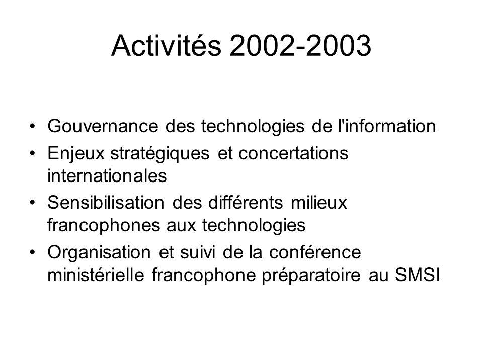 Activités 2002-2003 Gouvernance des technologies de l information Enjeux stratégiques et concertations internationales Sensibilisation des différents milieux francophones aux technologies Organisation et suivi de la conférence ministérielle francophone préparatoire au SMSI