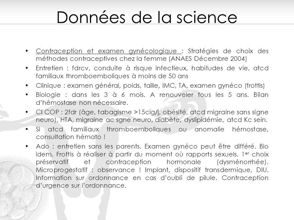 Données de la science Contraception et examen gynécologique : Stratégies de choix des méthodes contraceptives chez la femme (ANAES Décembre 2004) Entr