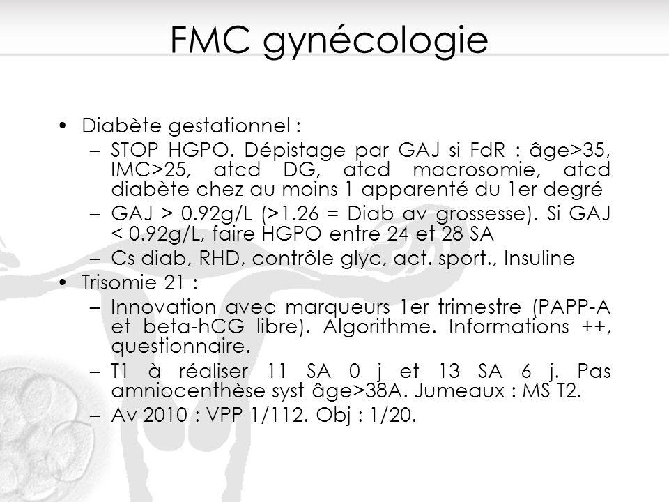 FMC gynécologie Diabète gestationnel : –STOP HGPO. Dépistage par GAJ si FdR : âge>35, IMC>25, atcd DG, atcd macrosomie, atcd diabète chez au moins 1 a