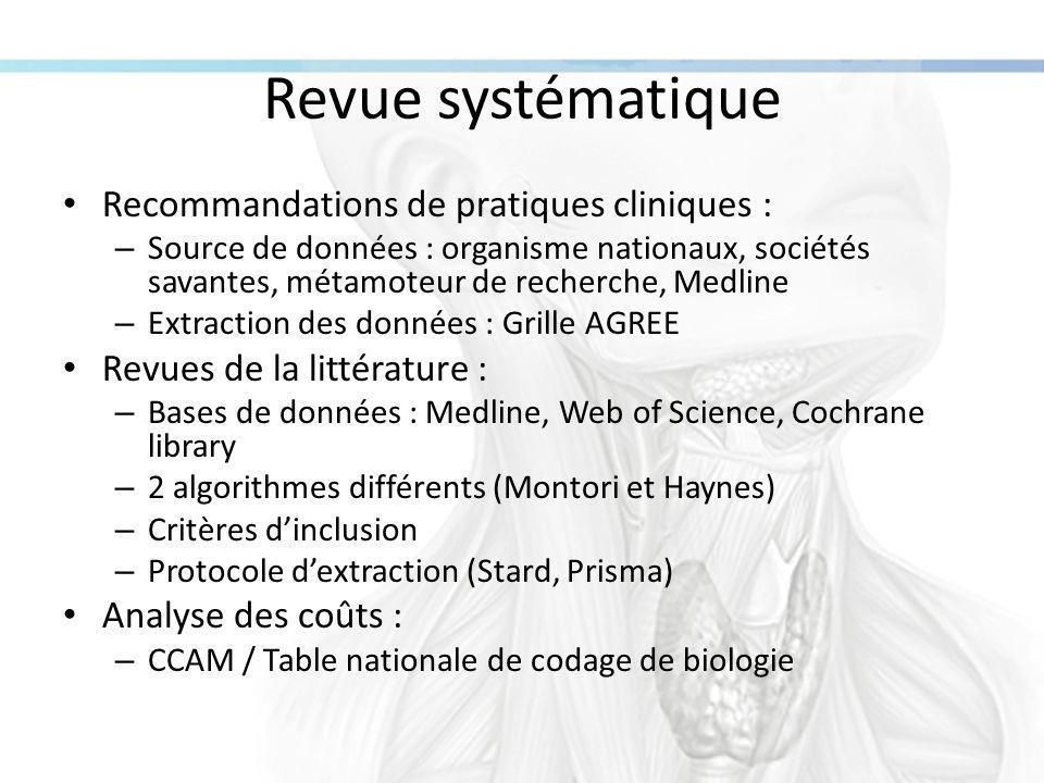 Quatre recommandations Intitulé de la recommandation (Organisme, date de publication) Pays Grade de la recommandation et niveau de preuve scientifique Score AGREE Paralysie récurrentielleHypoparathyroïdie secondaire Paralysies récurrentielles de l'adulte (HAS, 2002) FranceNON53 Examen ORL avec laryngoscopie indirecte.