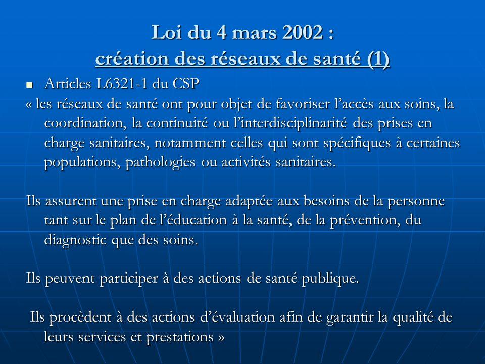 Loi du 4 mars 2002 : création des réseaux de santé (1) Articles L6321-1 du CSP Articles L6321-1 du CSP « les réseaux de santé ont pour objet de favori