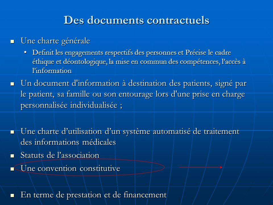Des documents contractuels Une charte générale Une charte générale Definit les engagements respectifs des personnes et Précise le cadre éthique et déo