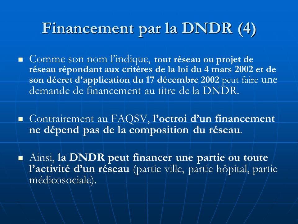 Financement par la DNDR (4) Comme son nom l'indique, tout réseau ou projet de réseau répondant aux critères de la loi du 4 mars 2002 et de son décret d'application du 17 décembre 2002 peut faire une demande de financement au titre de la DNDR.