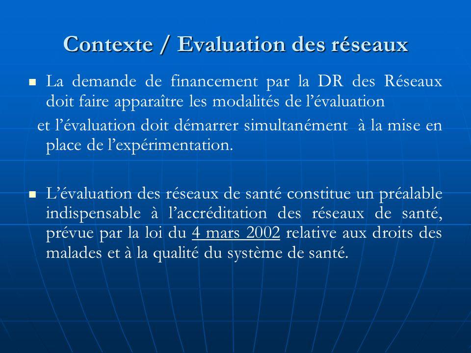Contexte / Evaluation des réseaux La demande de financement par la DR des Réseaux doit faire apparaître les modalités de l'évaluation et l'évaluation doit démarrer simultanément à la mise en place de l'expérimentation.