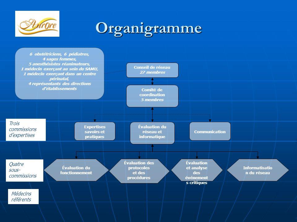 Organigramme Conseil de réseau 27 membres Comité de coordination 5 membres Expertises savoirs et pratiques Évaluation du réseau et informatique Commun