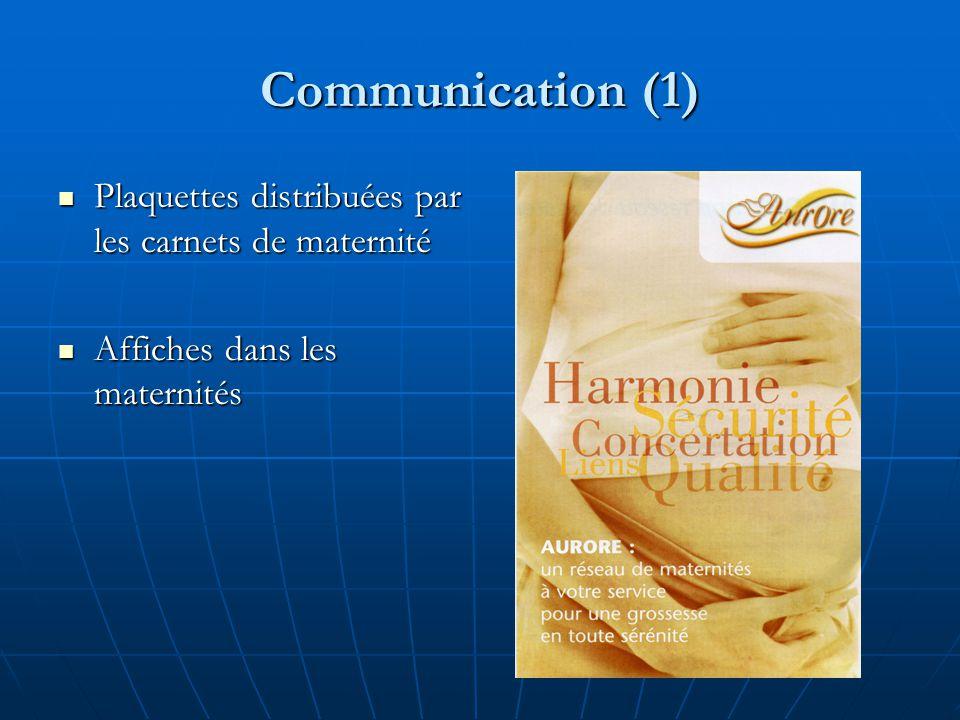 Communication (1) Plaquettes distribuées par les carnets de maternité Plaquettes distribuées par les carnets de maternité Affiches dans les maternités Affiches dans les maternités