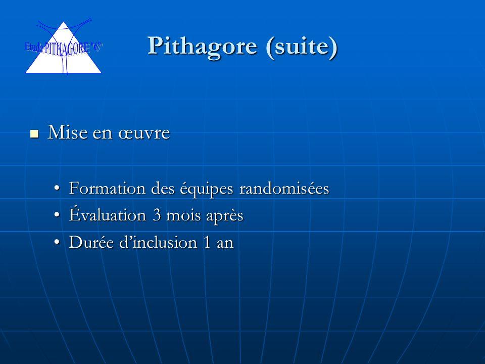 Pithagore (suite) Mise en œuvre Mise en œuvre Formation des équipes randomiséesFormation des équipes randomisées Évaluation 3 mois aprèsÉvaluation 3 m
