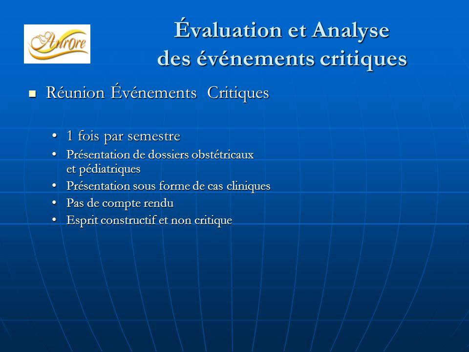 Évaluation et Analyse des événements critiques Réunion Événements Critiques Réunion Événements Critiques 1 fois par semestre1 fois par semestre Présen