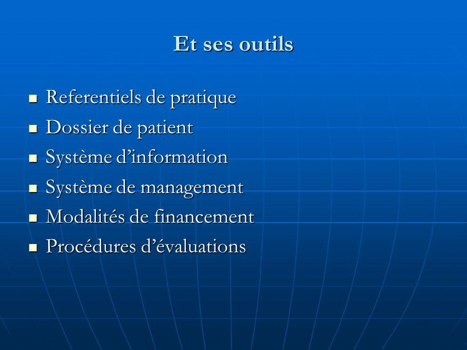 Et ses outils Referentiels de pratique Referentiels de pratique Dossier de patient Dossier de patient Système d'information Système d'information Système de management Système de management Modalités de financement Modalités de financement Procédures d'évaluations Procédures d'évaluations