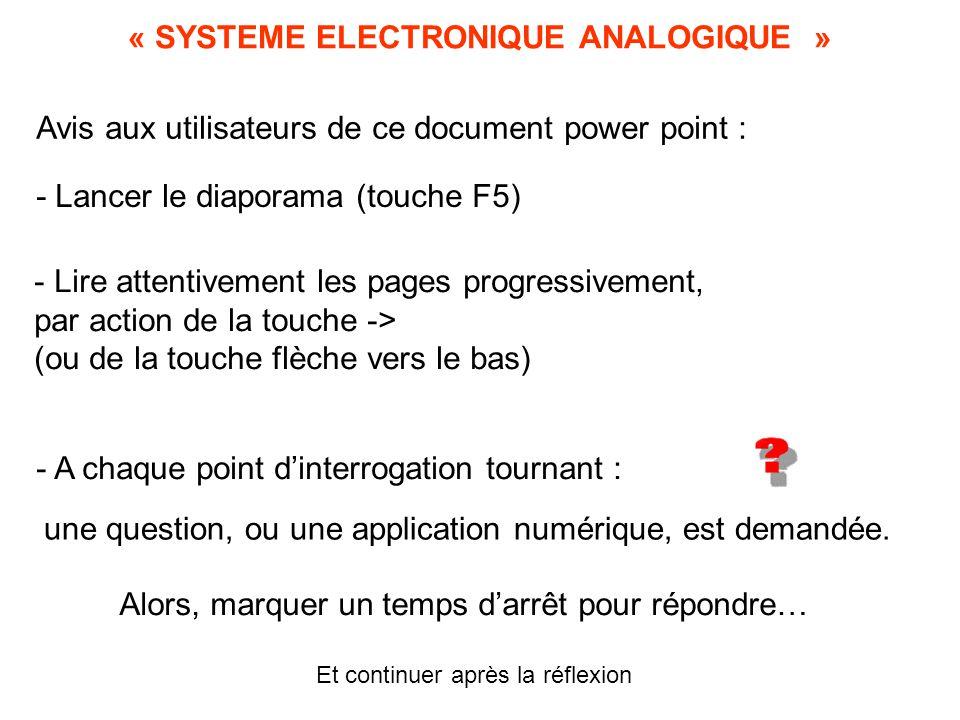 « SYSTEME ELECTRONIQUE ANALOGIQUE » Avis aux utilisateurs de ce document power point : - Lancer le diaporama (touche F5) - Lire attentivement les pages progressivement, par action de la touche -> (ou de la touche flèche vers le bas) - A chaque point d'interrogation tournant : une question, ou une application numérique, est demandée.