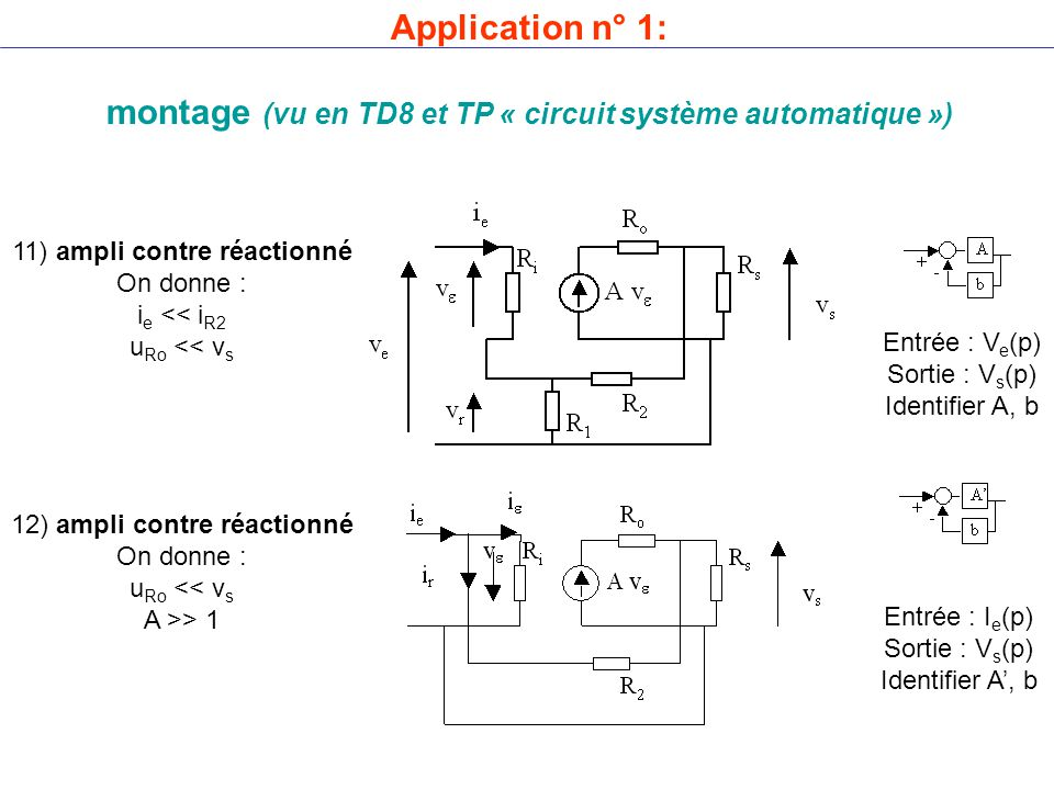 11) ampli contre réactionné On donne : i e << i R2 u Ro << v s 12) ampli contre réactionné On donne : u Ro << v s A >> 1 Entrée : V e (p) Sortie : V s (p) Identifier A, b Entrée : I e (p) Sortie : V s (p) Identifier A', b Application n° 1: montage (vu en TD8 et TP « circuit système automatique »)