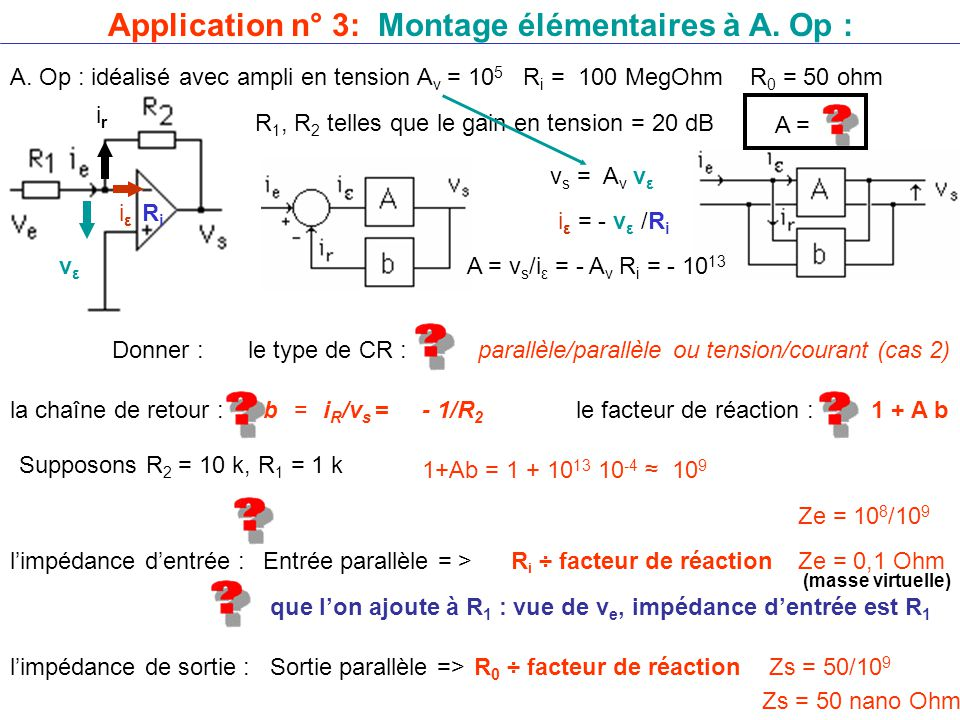Application n° 3: Montage élémentaires à A.