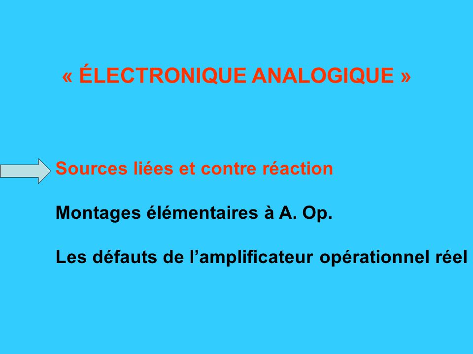 Défauts intervenant dès le régime statique Amplification en tension non infinie : A v = qq 1E6 = A o en statique Conséquences : En continu (ou très basse fréquence), relativement peu, car valeur demeurant très élevée.