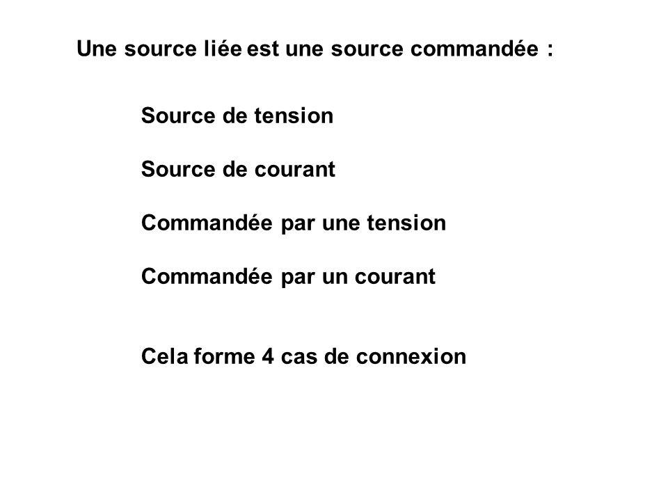 Une source liée est une source commandée : Source de tension Source de courant Commandée par une tension Commandée par un courant Cela forme 4 cas de connexion