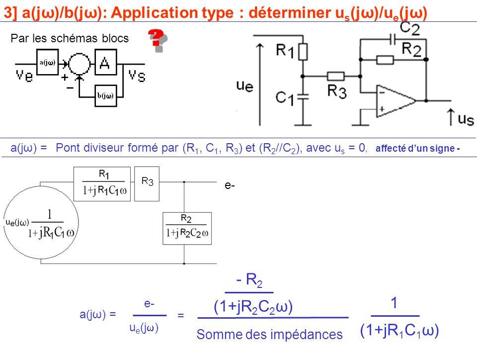 Par les schémas blocs a(jω) =Pont diviseur formé par (R 1, C 1, R 3 ) et (R 2 //C 2 ), avec u s = 0, affecté d'un signe - e- 3] a(jω)/b(jω): Application type : déterminer u s (jω)/u e (jω) e- (1+jR 2 C 2 ω) - R 2 Somme des impédances (1+jR 1 C 1 ω) 1 = a(jω) = u e (j  )